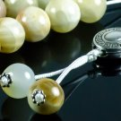 White Onyx Gemstone Greek Worry Beads Meander Spacer