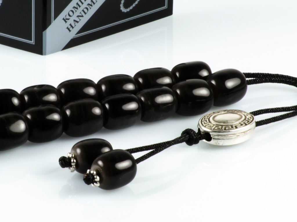 Dark Grey Obsidian Gem Greek Worry Beads Meander Silver Spacer