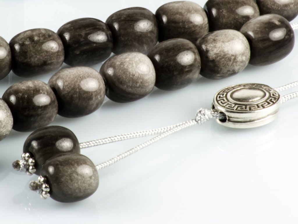 Gray Obsidian Gemstone Greek Komboloi Worry Beads|Meander Silver Spacer