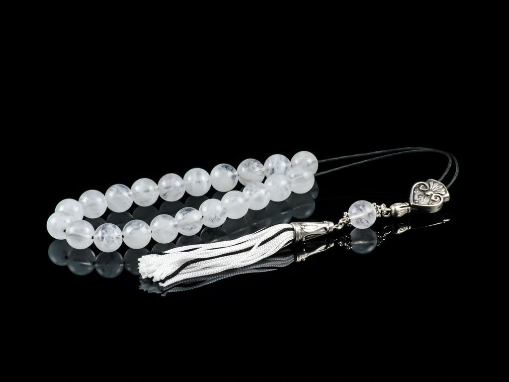 Quartz Gemstone|Greek Komboloi Worry Beads|�irthstone for November|21+1 Beads Komboloi|12mm