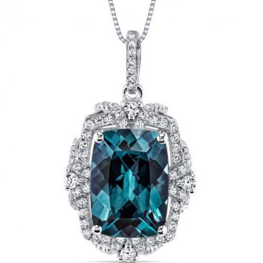 Women's Sterling Silver Vintage Cushion Alexandrite Pendant Necklace