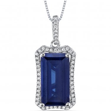 Women's Sterling Silver Vintage Emerald Cut Blue Sapphire Pendant Necklace