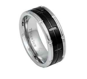 Men's 8mm Titanium Grooved Wedding Band Ring with Black Center