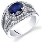Women's Sterling Silver Oval Blue Sapphire Halo Ring