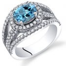 Women's Sterling Silver Genuine Swiss Blue Topaz Oval Halo Ring