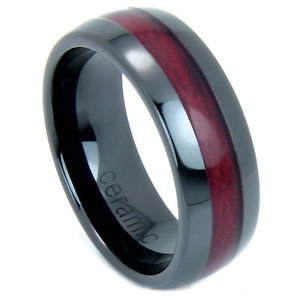 Men's Black Ceramic Domed Wedding Band Ring with Rosewood Inlay