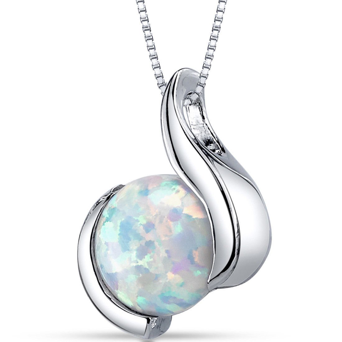 Women's Sterling Silver Round White Opal Solitaire Pendant Necklace