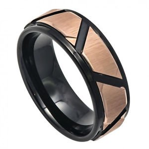 Men's Two Tone Rose Gold and Black Tungsten Carbide Wedding Band with Brushed Tr