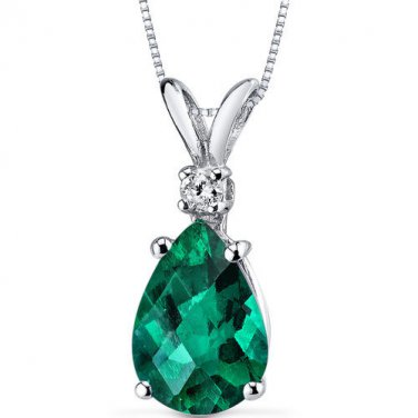 14k White Gold Pear Shape Emerald and Diamond Pendant Necklace