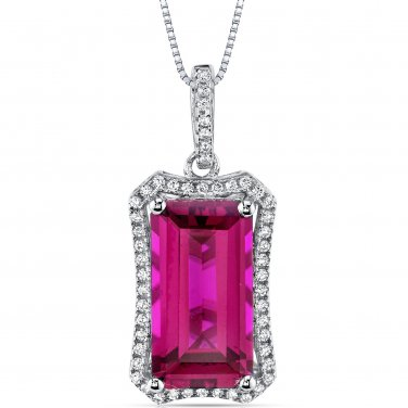 Women's Sterling Silver Vintage Emerald Cut Ruby Pendant Necklace