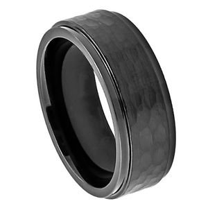Men's Black Cobalt Wedding Band Ring with Hammered Finish