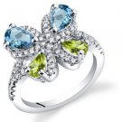Women's Sterling Silver Blue Topaz and Peridot Butterfly Ring