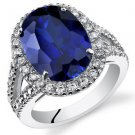 Women's Sterling Silver Oval Halo Blue Sapphire Cocktail Ring