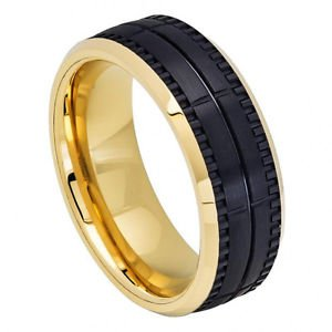 Men's Two Tone Gold and Black Tungsten Carbide Wedding Band with Groove Design