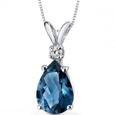 14k White Gold Pear Shape London Blue Topaz and Diamond Pendant Necklace