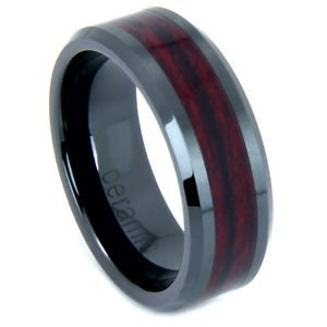 Men's Black Ceramic Beveled Edge Wedding Band Ring with Rosewood Inlay