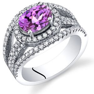 Women's Sterling Silver Oval Pink Sapphire Halo Ring