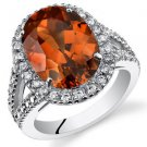 Women's Sterling Silver Padparadscha Sapphire Oval Halo Ring with Split Band