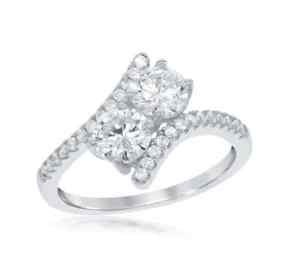 Women's Sterling Silver 2 Stone Cubic Zirconia CZ Ring