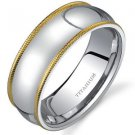 Men's Titanium Wedding Band Ring with Yellow Gold Milgrain Finish
