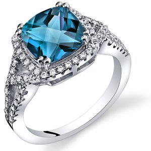 Women's Sterling Silver Cushion Cut Halo London Blue Topaz Ring