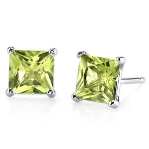 Women's 14k Gold Princess Cut Peridot Stud Earrings