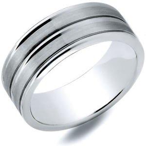 Men's Cobalt Ring Satin Finish and Grooved Design 8mm Width