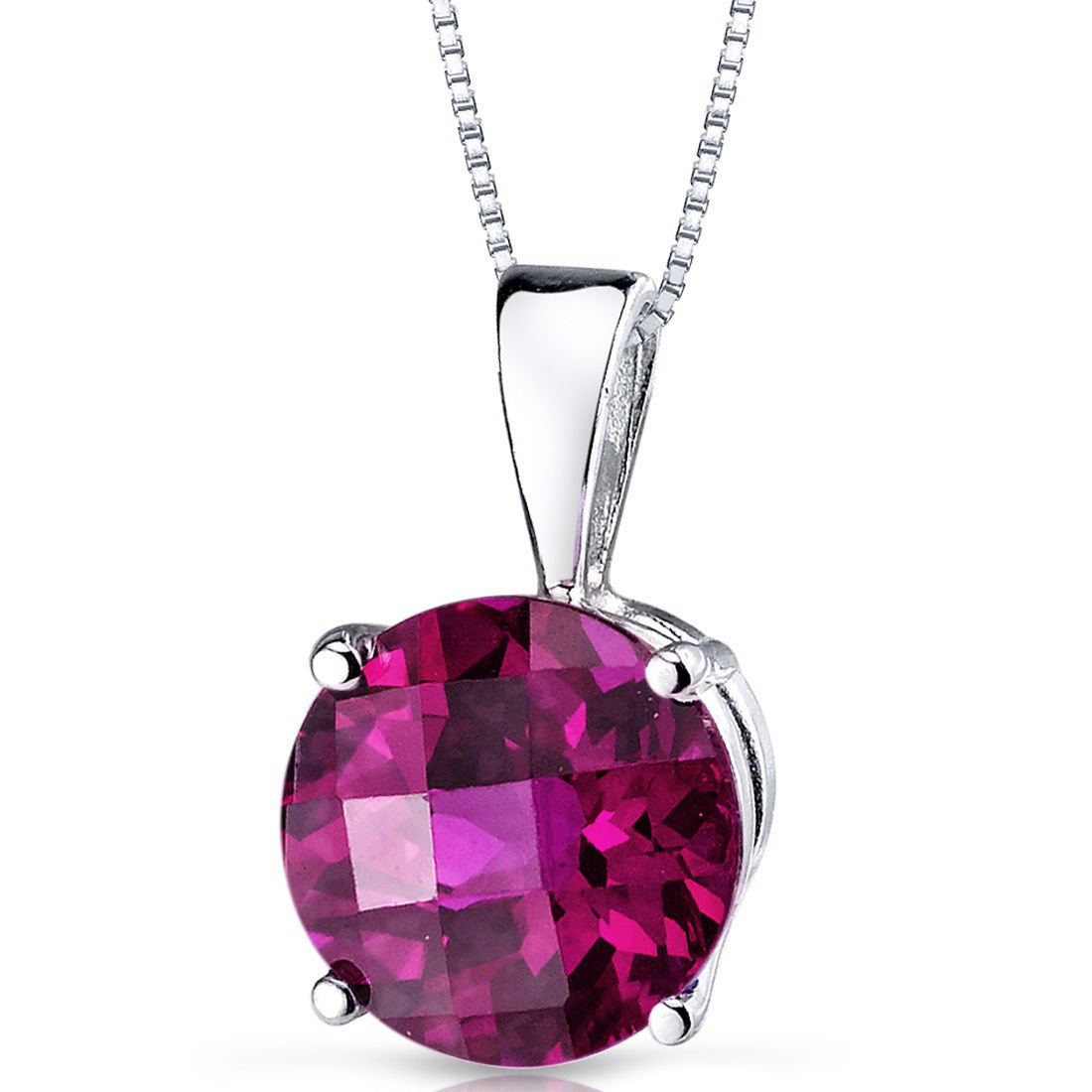 14k White Gold Round Ruby Solitaire Pendant Necklace