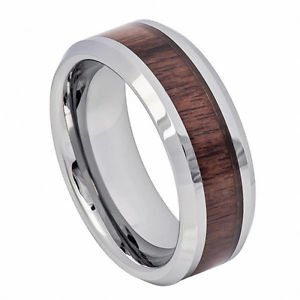 Men's Tungsten Carbide Wedding Band Ring Mahogany Wood Inlay