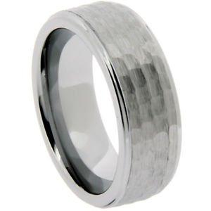 Men's Tungsten Wedding Band Ring Hammered Finish 8mm Width