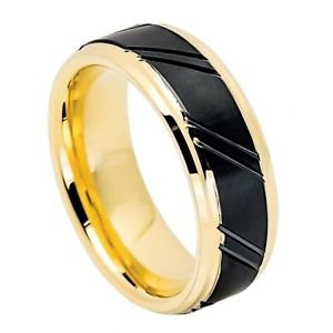 Mens Tungsten Wedding Band Ring Black and Yellow Gold Finish