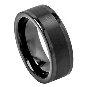 Men's 8mm Flat Black Tungsten Carbide Wedding Band Ring Satin Center Finish
