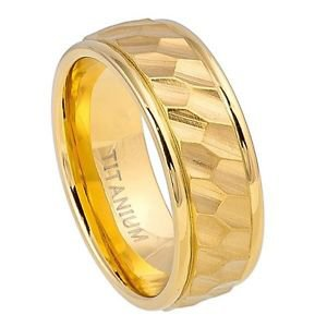 Men's Gold Tone Titanium Wedding Band Ring with Carved Hexagonal Design Center