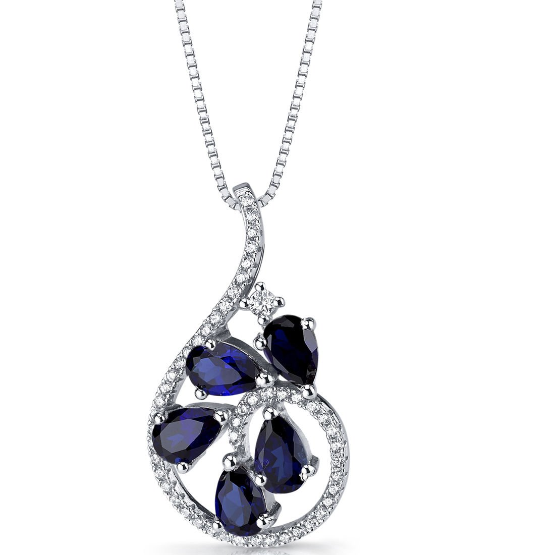 Women's Sterling Silver Blue Sapphire Dewdrop Pendant Necklace