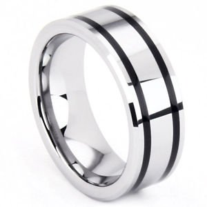Men's 8mm Tungsten Carbide Wedding Band Ring Double Black Resin Inlay No Stone