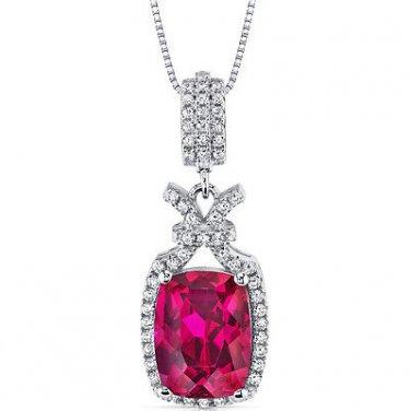 Women's Sterling Silver Vintage Halo Ruby Pendant Pendan Necklace