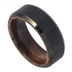 Men's Black Tungsten Carbide Wedding Band African Mahogany Wood Inner Ring