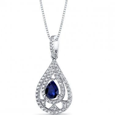 Women's Sterling Silver Created Blue Sapphire Chandelier Pendant Necklace