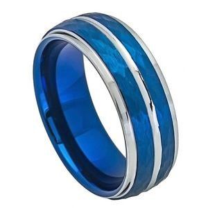 Mens Two Tone Blue Hammered Tungsten Carbide Wedding Band Ring
