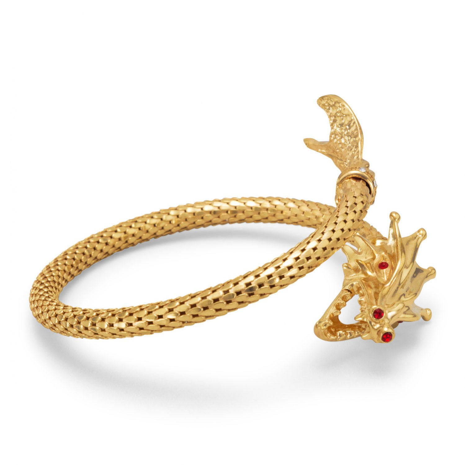 14 Karat Gold Plated Sterling Silver Dragon Wrap Bangle