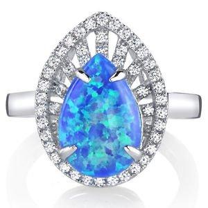 Women's Sterling Silver Tear Drop Blue Opal Halo Ring