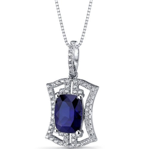 Women's Sterling Silver Cushion Blue Sapphire Art Deco Pendant Necklace