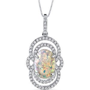 Women's Sterling Silver Vintage Opal Pendant with Brilliant Cubic Zirconia