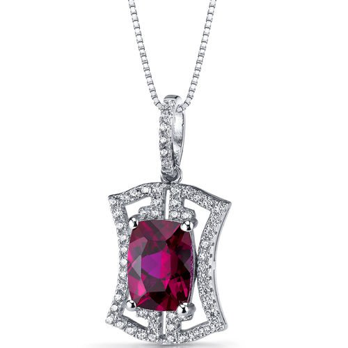 Women's Sterling Silver Cushion Ruby Art Deco Pendant Necklace