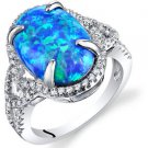 Women's Sterling Silver Oval Blue Opal Halo Ring