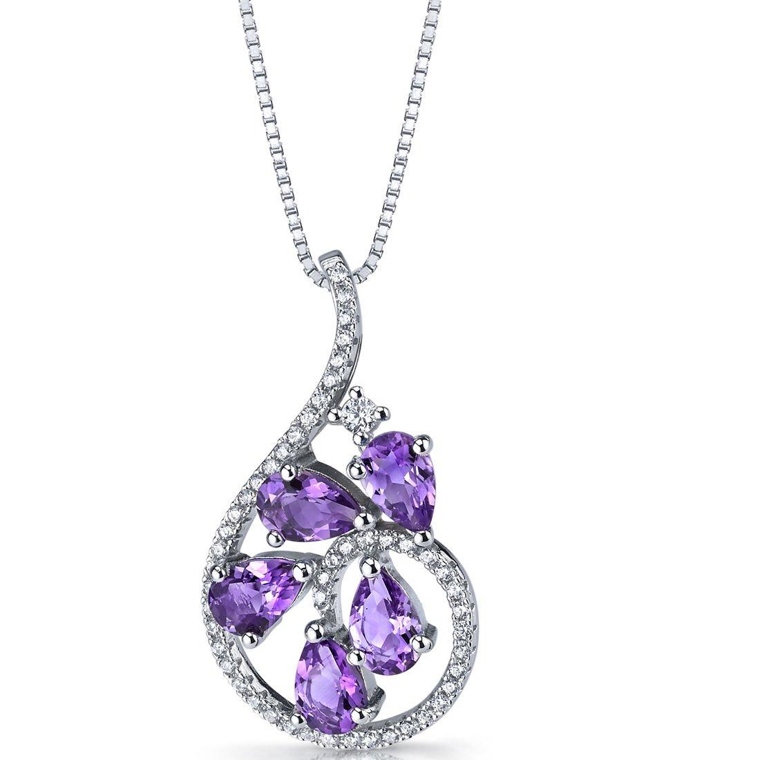 Women's Sterling Silver Amethyst Dewdrop Pendant Necklace