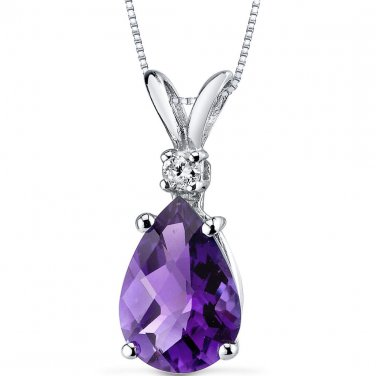 14k White Gold Pear Shape Genuine Amethyst and Diamond Pendant Necklace