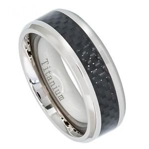 Men's 8mm Titanium Wedding Band Ring with Black Carbon Fiber Inlay Inlay