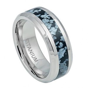 Men's Titanium Wedding Band with Blue and Gay River Stone Inlay