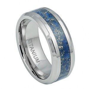 Men's Titanium Wedding Band with Royal Blue Specks River Stone Inlay